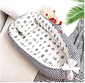 ZSLD Baby Nest with Pillow for Bedroom Baby Lounger  Portable Bionic Bed Nest for Co-Sleep  Soft Cotton Newborn Crib Lounger Pillow for Travel Camping