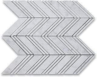 Carrara White Italian Carrera Marble Chevron Mosaic Tile w/Carrara Lines 1x4 Polished