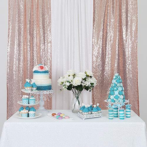 YZEO Pailletten-Stoff, Hochzeit Vorhang Fotografie Pailletten Hintergrund, für Hochzeit, Party, Fotos als Hintergrund, 0.6 m x 2.4 m, Rose Gold, 2ftx8ft