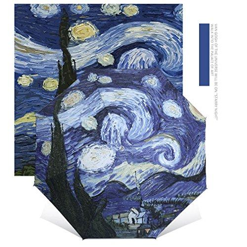 Gugutogo Paraguas Elegante 2017 de Van Gogh del Arte de la Pintura al óleo Paraguas Universal Innovador del Paraguas de la Todo-Tiempo Dentro del Paraguas Anti-Ultravioleta (Color: Multicolor)