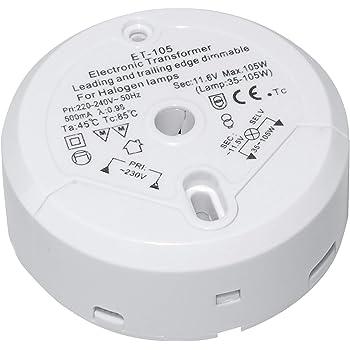 Electronic Transformer Light 12V Halogen Round Dimmable 35-105W//VA 10mm 240V