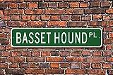 Stree Schild Basset Hound Dog Lover Geschenk Metall Aluminium Schild Wandschild Dekoration