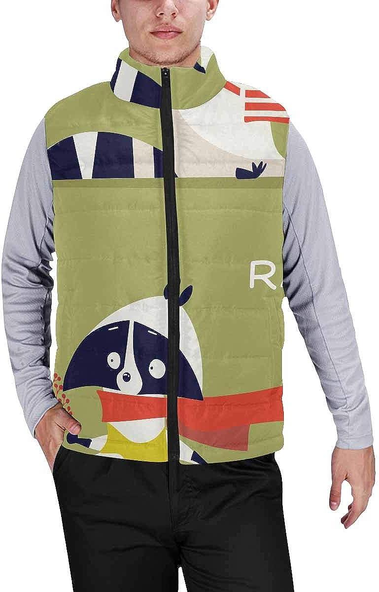 InterestPrint Winter Lightweight Personality Design Padded Vest for Men Cartoon Owls
