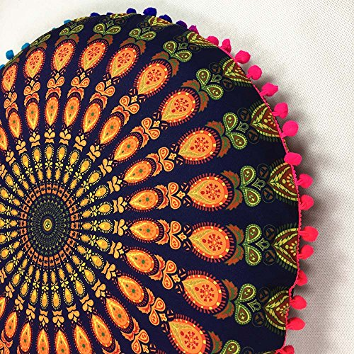 Kissenbezug KissenüberzugFghyh Indische Mandala Bodenkissen Runde böhmische Kissen Kissen Kissenbezug Fall 43 * 43cm(GD)