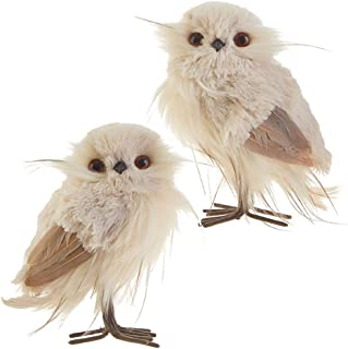 RAZ Imports Owl Figurines — Set of 2 Faux Fur Feathered Owls — 6