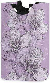 Mnsruu Panier à linge pliable avec poignées Motif floral Violet