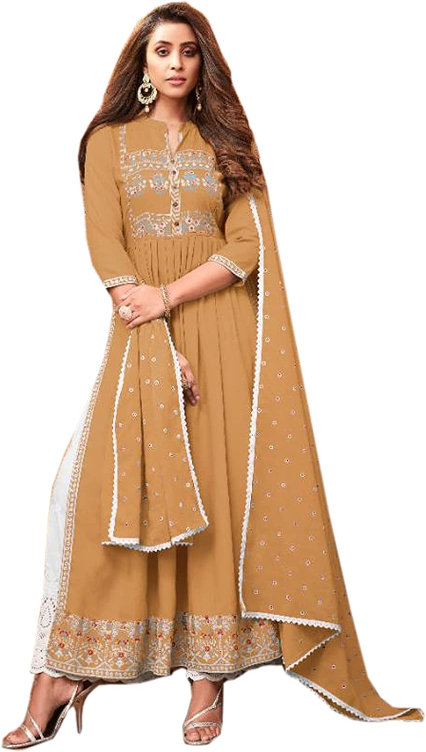Mustard Heavy Reyon Printed Indian Party Wear Max Genuine Free Shipping 83% OFF Straigh Women Long