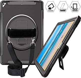 iPad Pro 12.9 Case 2017 2015, Heavy Duty Shockproof 12.9 Inch iPad Pro Case with 360 Degree Swivel Stand, Hand Strap & Shoulder Strap, Hybrid Hard Kids iPad Pro 12.9 1st & 2nd Generation Case, Black