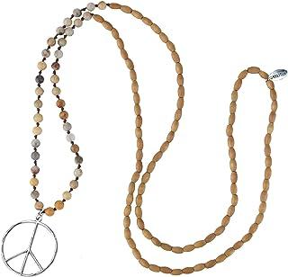 KELITCH Collana con Ciondolo di Pace Classica Love Hippie con Collane di Perline in Cristallo Smerigliato