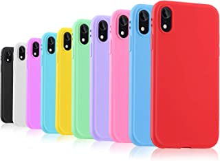 Pofesun Slim Fit iPhone XR Case, 10 Pack Ultra Thin Soft Silicone Gel Rubber Protective Case with Matte Finish Grip Phone Cover Compatible for iPhone XR 6.1