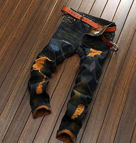 YTD Mens Distressed Ripped Biker Slim Jeans Stretched Moto Denim Pants (W38(Tag 40), Gold)