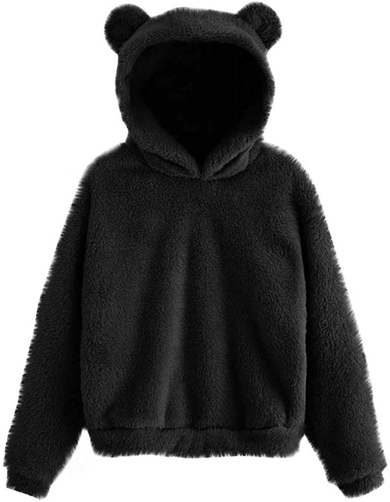 Cute Sweaters for Womens Fuzzy Fleece Pullover Solid Color Sweatshirt Long Sleeve Tops Girls Bear Hoodie with Ears