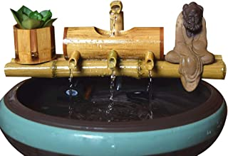 æ—— Water Fountain Pump,Indoor/Outdoor Fountain Three-Arm Style Base Bamboo Tube Circulating Water Decoration for Home Office