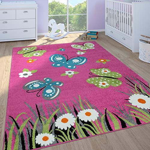 Alfombra De Juego Habitación Infantil Niña Pelo Corto Mariposas En Rosa, tamaño:120x170 cm