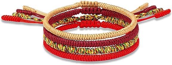 Yo-ike Tibetan Buddhist Woven Bracelets Mens Womens Lucky Red String Bracelets for Protection