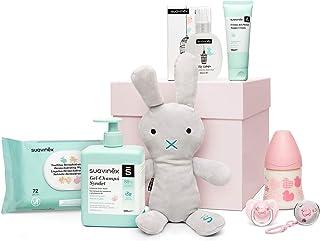 Suavinex - Canastilla de regalo baby shower para recién nacido con biberón, chupete, broche, gel-champú Syndet, crema pañal y toallitas, 0-6 meses, Rosa