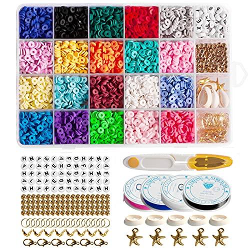 RUIYWEN 4275 pezzi Perline Piatte Rotonde in Argilla Polimerica 6mm Perline per Fare Bracciali Collana Adulti Bambini Gioielli Regali Artigianato Fai da Te (20 Colori con Accessori)