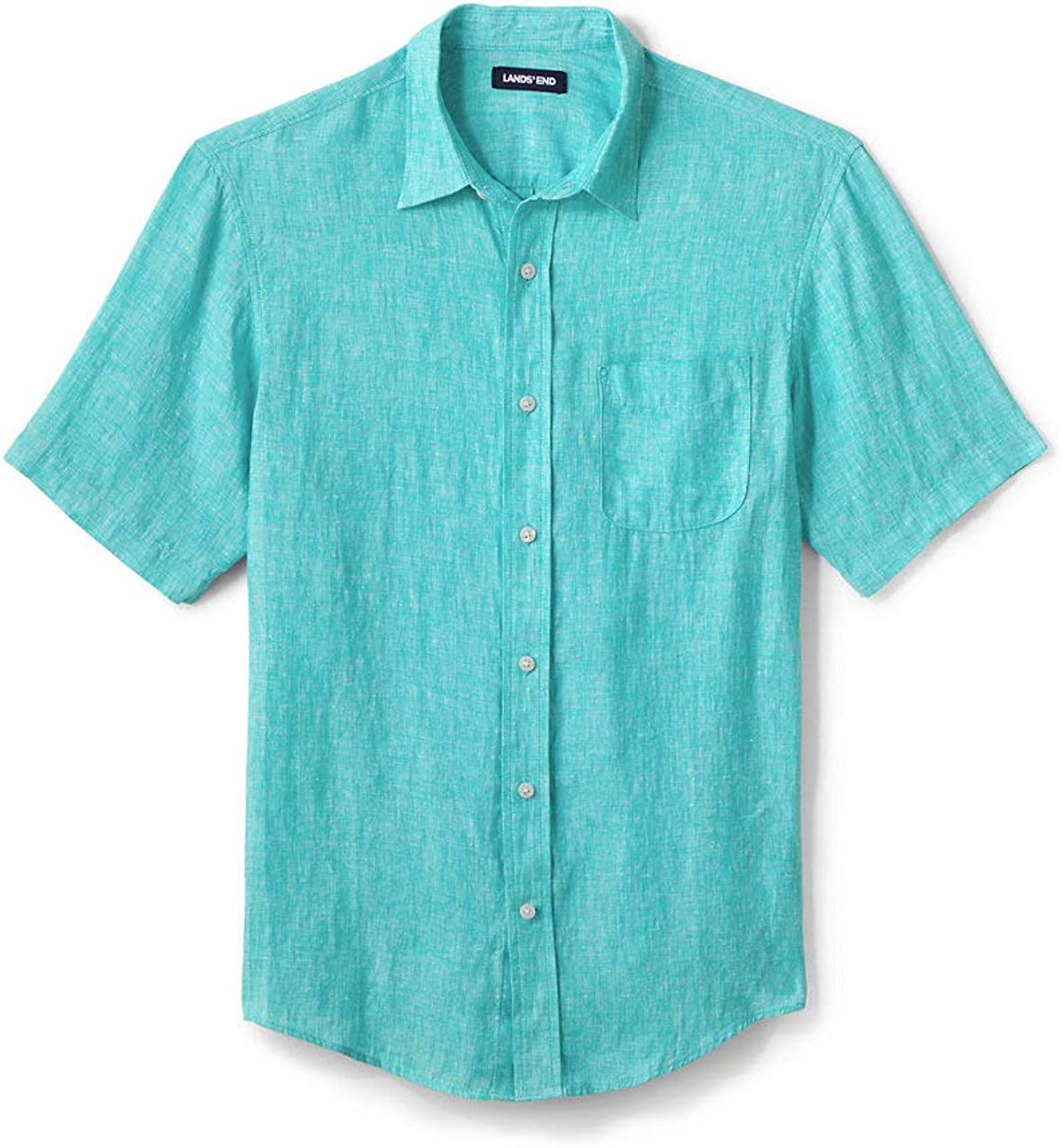 Lands' End Men's Traditional Fit Short In a popularity Sleeve Shirt Max 60% OFF Linen
