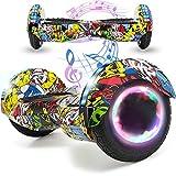 Magic Vida Skateboard Électrique 8 Pouces Bluetooth Puissance 700W avec Deux Barres LED Gyropode Auto-Équilibrage de Bonne qualité pour Enfants et Adult(Hiphop