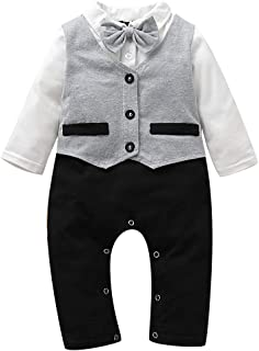 Infant Baby Boy Gentlman Suit Long Sleeve Jacket Style Romper Baby Party Costume