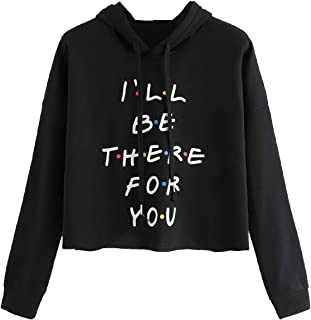 MAKEMECHIC Women's Loose Long Sleeve Crop Top Sweatshirt Letter Print Pullover Hoodie