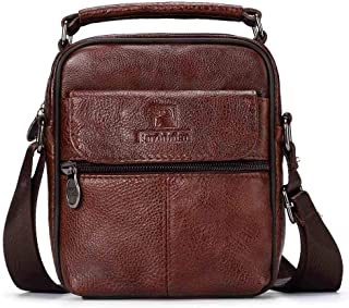 Leather Bag Mens Single-Shoulder Crossbody Bag Vintage Leather Men's Casual Horizontal Square Cowhide High Capacity (Color : Brown, Size : S)