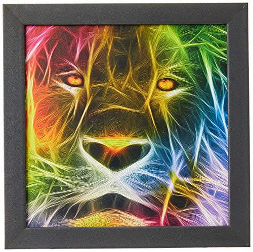 Arte Maníacos Quadro Decorativo Leão Colorido - 65x46cm (Moldura em laca preta)