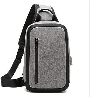Fashion Men's Chest Bag, Black Large-Capacity Messenger Bag, USB Rechargeable Backpack,Gray