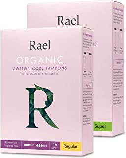 Sponsored Ad - Rael Organic Cotton Unscented Tampons - Regular & Super Size, BPA Free Plastic Applicator, Chlorine Free, U...