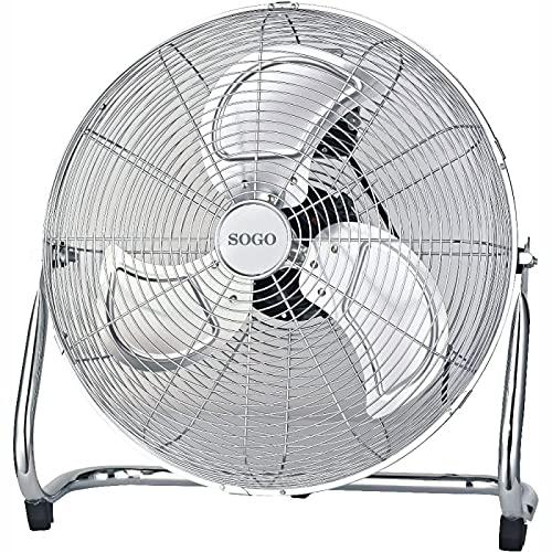 Sogo Ventilador Silensioso Industrial de Suelo Power Fan, 3 Aspas Metálicas, Inclinación ajustable, 3 velocidades, cuerpo en Metal Cromado Color Plata (50CM - 170W)