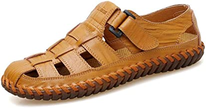 QXH Athletic Slides Sandals Sport Men's Summer Beach Leather Hiking Closed Toe Anti Collision Travel