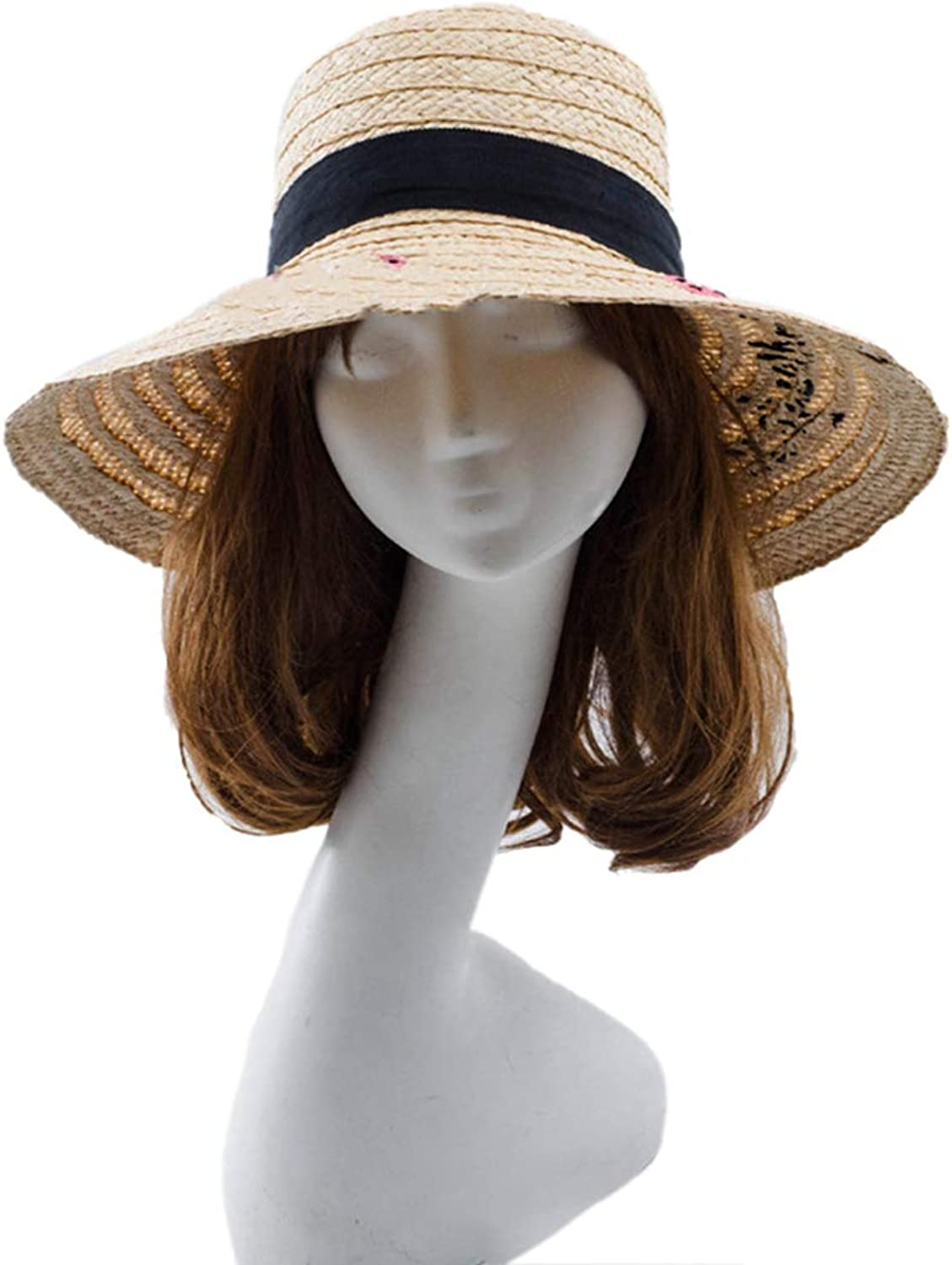 Nafanio Summer Embroidered Straw Hat Handmade Bow UV Predection Sunscreen Beach Floppy Sun Hats Caps