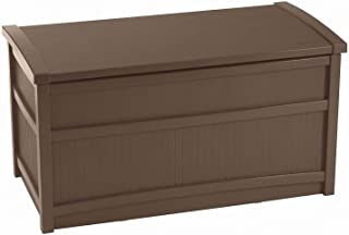 Suncast 50-Gallon Medium Deck Box - Lightweight Resin Indoor/Outdoor Storage Container and Seat for Patio Cushions, Gardening Tools and Toys - Store Items on Patio, Garage, Yard - Brown