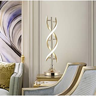 Led Double Spiral Bedside Table Lamp, 20 White Light Metal Helix Button Switch Desk Lamp Reading Lamp for Home Hotel-a