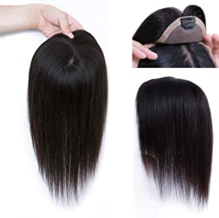 One Piece Clip in Fringe Extension Human Hair Straight Topper Seamless 6x9cm, 15cm Dark Brown