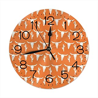 9.8 Inch Universal Round Wall Clock Longhorn Cattle Cow Texas Skull Orange Cactus Silent Non Ticking Decorative Wall Easy Read Clock Battery Operated Is Designed To Fit Anywhere In Your Home