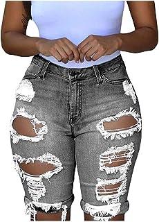 Beishi Womens Short Denim Jeans, Women Elastic Destroyed Hole Leggings Short Pants Denim Shorts Ripped Jeans