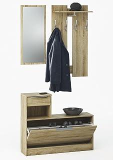 Abitti Recibidor vestidor con Zapatero abatible Color Roble con Espejo. para Entrada, Pasillo o Dormitorio. 200x92cm