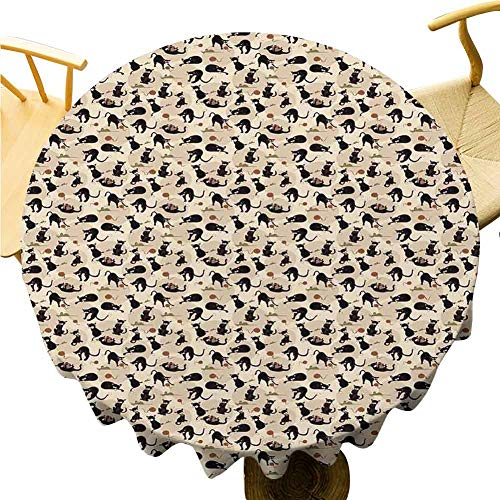 Cat Tablecloth - 62 Inch Round Table Cloth Simple Hand Drawn Feline Pattern House Pet Playing with Mouse and a Ball of Yarn Quick Wipe Black Tan Sea Green