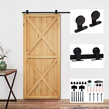 EBTOOLS Door Track Kit,2.44m//8FT Carbon Steel Single Wooden Door Sliding Track Kit Sliding Barn Door Hardware Roller Hangers Track Rail Kit Set for Barn Door Closet Cabinet