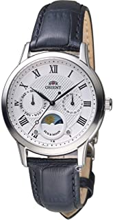 Orient Classic Sun and Moon RA-KA0006S Ladies Silver White Dial Black Leather Strap