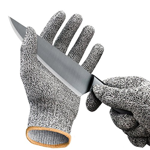 Cut Resistant Gloves/Cut Gloves - Cutting Gloves for Pumpkin Carving, Wood Carving, Meat Cutting and Oyster Shucking - Cut Proof Gloves with Level 5 Protection (Small, Medium, Large, Extra Large)