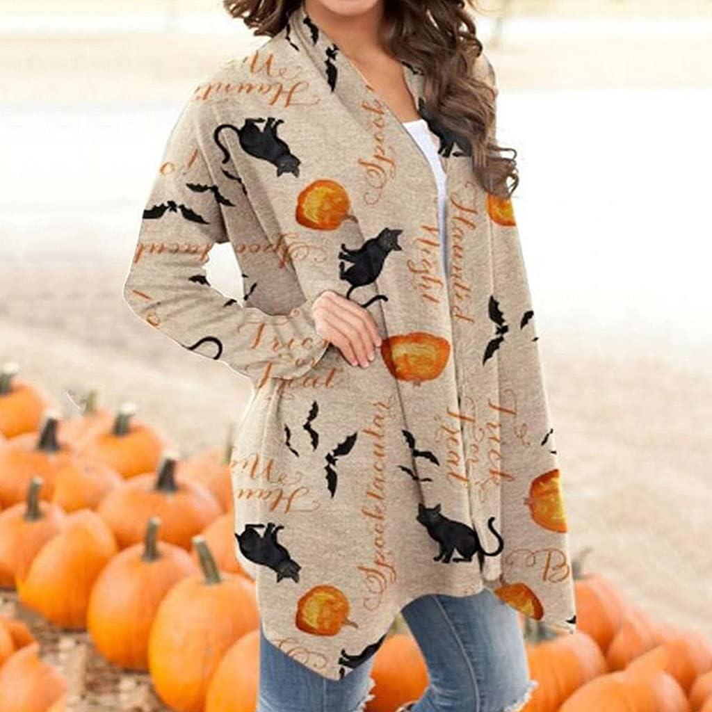 AODONG Halloween Cardigan for Women, Women's Long Sleeve Open Front Cardigan Pumpkin Printed Coat Lightweight Tops