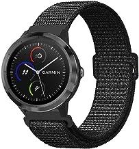 Fintie Armband für Garmin Vivoactive 3 / Vivoactive 3 Music / vívomove HR / Forerunner 245 / 645 Music - Premium Nylon atmungsaktive Uhrenarmband Ersatzband mit verstellbarem Verschluss, Schwarz
