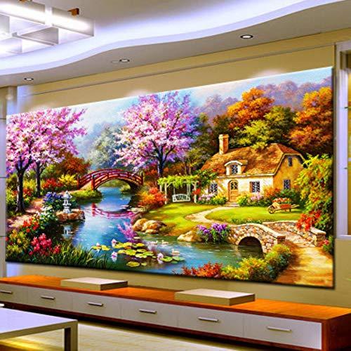 5d diy pintura diamante decoraciones caseras grandes sala de estar flor ideal cubo de Rubik taladro redondo, 300x110 cm taladro completo
