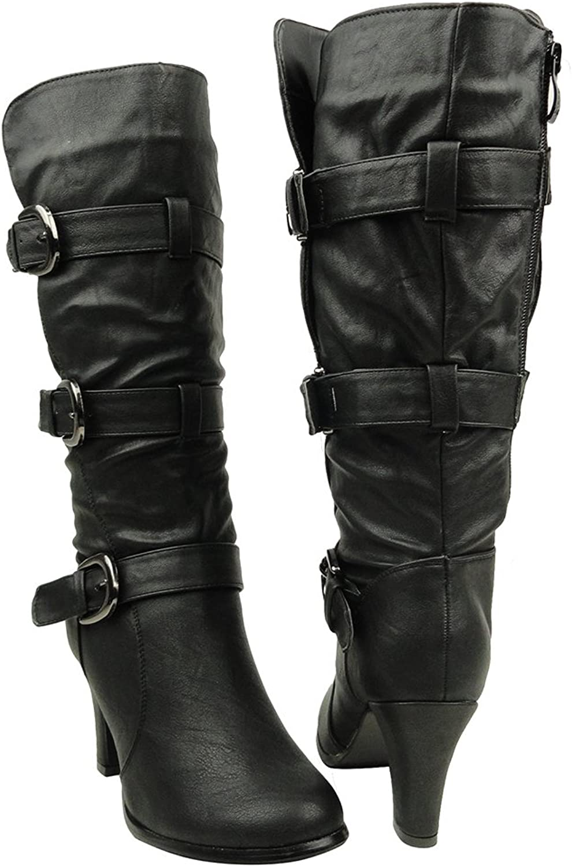 KSC Womens Mid Calf Boots Triple Adjustable Buckles Side Zipper Closure Black