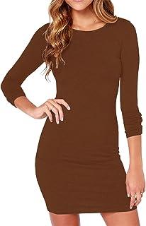 Haola Women's Sexy Casual Long Sleeve Short Dress Mini Dress Stripe Dresses
