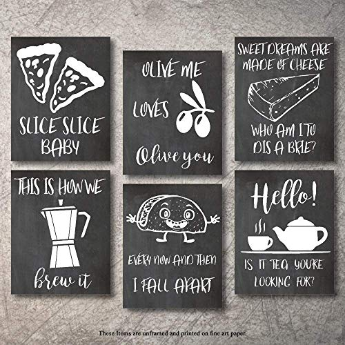 Wall Decor Kitchen Pictures Modern Farmhouse Eat Signs Decorations Shabby Chic Art Sign Prints for Home or Office Kitchen Coffee Deco Wall Shelves or hanging shelf Vintage Decore Bar (Chalk, 11