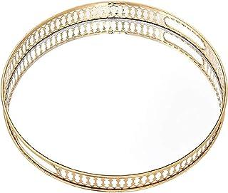 Perfk Mirror Tray Decorative Tray Perfume Tray Makeup Tray Jewelry Tray Gold Mirrored Tray for Crystal Beaded Vanity, Dres...