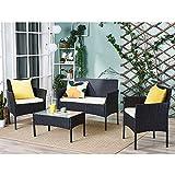 Conjunto mesa de cristal + 3 sillas de ratán pvc moderno – impermeable al agua – Resistente a los rayos UV para jardín, balcón, terraza, Negro